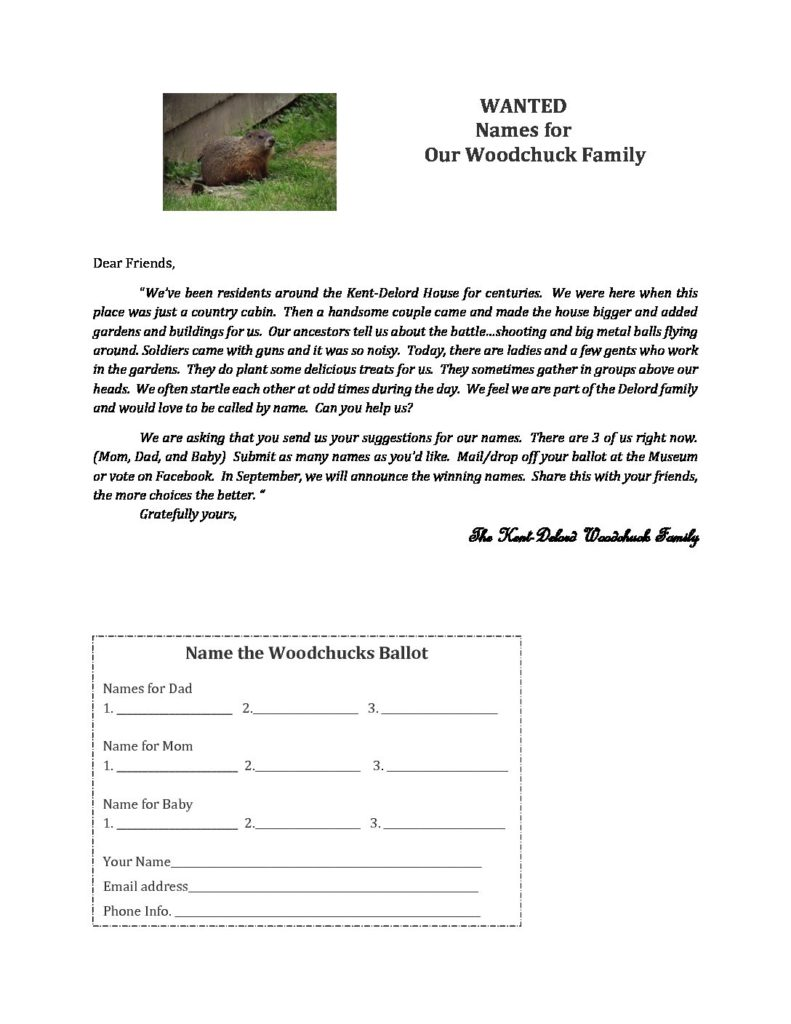 WANTED Names for Our Woodchuck Family